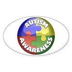 Autism Awareness Jewel Oval Sticker