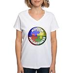 Autism Awareness Jewel Women's V-Neck T-Shirt