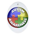 Autism Awareness Jewel Oval Ornament