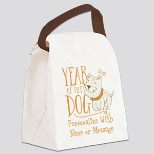 CUSTOM Cute Year Of The Dog Canvas Lunch Bag