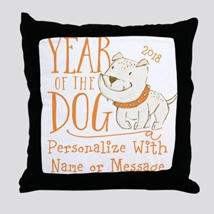 CUSTOM Cute Year Of The Dog Throw Pillow