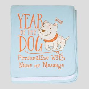 CUSTOM Cute Year Of The Dog baby blanket