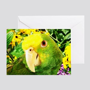 Painting Amazon Parrot Greeting Card