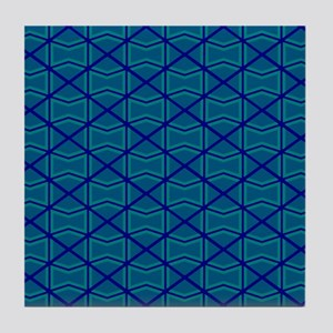 BLUE AND GREEN DIAMONDS Tile Coaster
