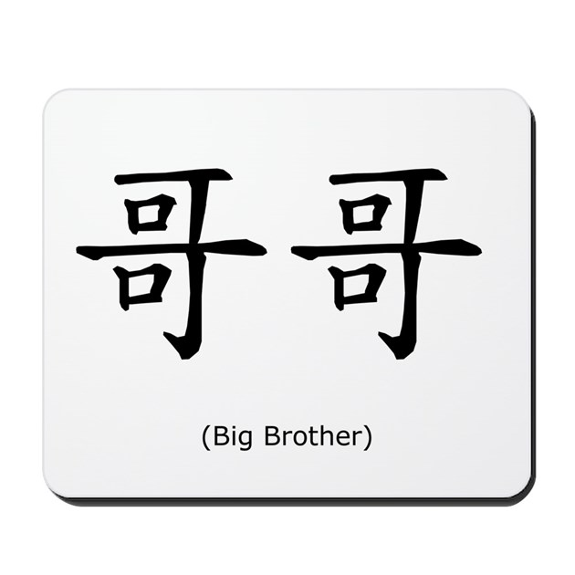 Bigolder Brother Chinese Character Mousepad By Mozartini