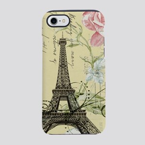 yellow floral paris eiffel t iPhone 8/7 Tough Case