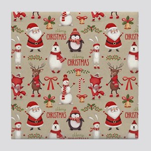 Merry Christmas Santa And Friends Tile Coaster