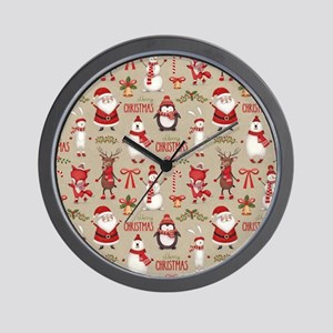 Merry Christmas Santa And Friends Wall Clock