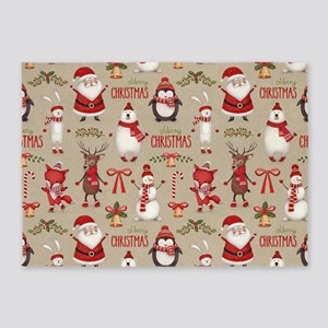 Merry Christmas Santa And Friends 5'x7'Area Rug