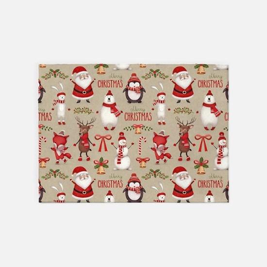 Merry Christmas Santa And Friends 5'x7'Area Rug