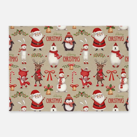 Merry Christmas Santa And Friends 5 X7 Area Rug
