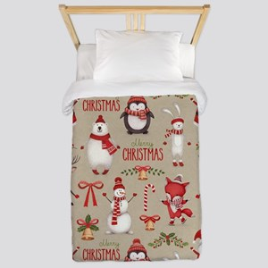 Merry Christmas Santa And Friends Twin Duvet