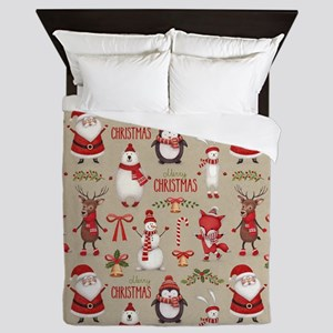 Merry Christmas Santa And Friends Queen Duvet