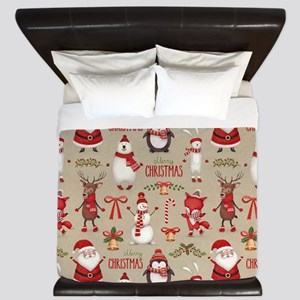 Merry Christmas Santa And Friends King Duvet