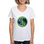 Earth Peace Symbol Women's V-Neck T-Shirt