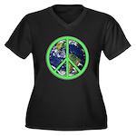 Earth Peace Symbol Women's Plus Size V-Neck Dark T