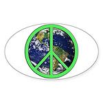 Earth Peace Symbol Sticker (Oval)