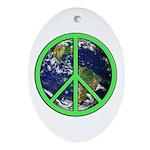 Earth Peace Symbol Ornament (Oval)