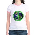Earth Peace Symbol Jr. Ringer T-Shirt