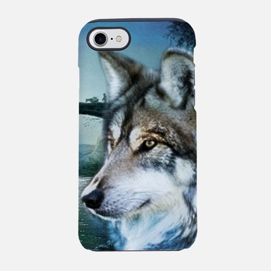 woodland moonlight wild wolf iPhone 8/7 Tough Case