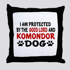 Protected By Komondor Throw Pillow