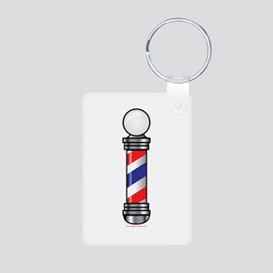 Barber Pole Aluminum Photo Keychain