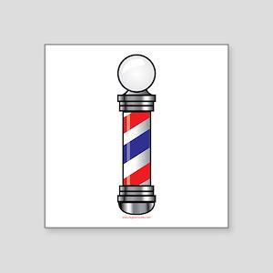 """Barber Pole Square Sticker 3"""" x 3"""""""