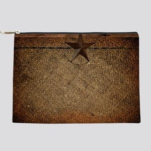 burlap barn wood texas star Makeup Bag