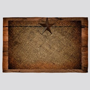 burlap barn wood texas star 4' x 6' Rug