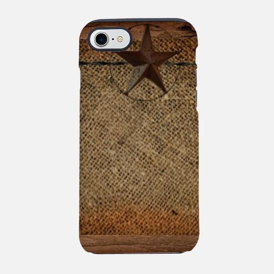 burlap barn wood texas star iPhone 8/7 Tough Case