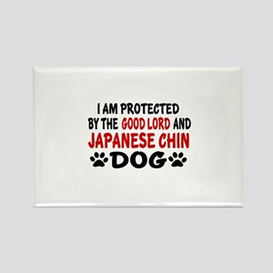 Protected By Japanese chin Rectangle Magnet