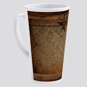 burlap barn wood texas star 17 oz Latte Mug