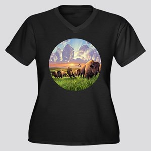 Stampede! Women's Plus Size V-Neck Dark T-Shirt