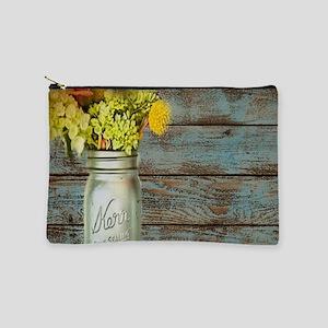 mason jar flowers barnwood Makeup Bag