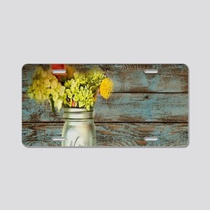 mason jar flowers barnwood Aluminum License Plate