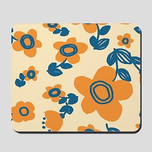 Orange and Blue Hawaiian Floral Pattern Mousepad