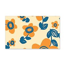 Orange and Blue Hawaiian Floral P Wall Decal