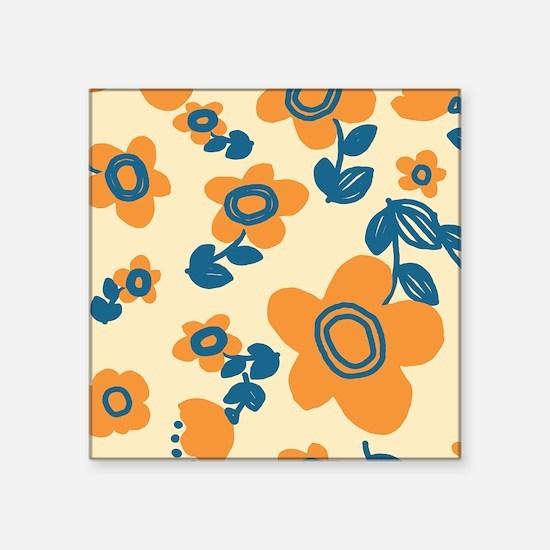 "Orange and Blue Hawaiian Fl Square Sticker 3"" x 3"""
