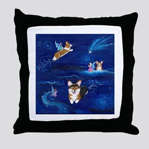 """Faerie Flight"" Pembroke Welsh Corgi Throw Pillow"