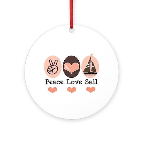 Peace Love Sail Boat Sailing Ornament (Round)
