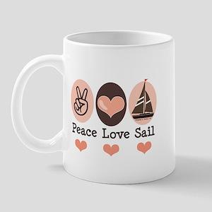 Peace Love Sail Boat Sailing Mug