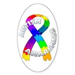 Autism Puzzle Ribbon Oval Sticker
