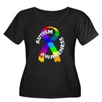 Autism Puzzle Ribbon Women's Plus Size Scoop Neck
