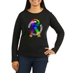 Autism Puzzle Ribbon Women's Long Sleeve Dark T-Sh