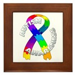 Autism Puzzle Ribbon Framed Tile