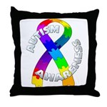 Autism Puzzle Ribbon Throw Pillow