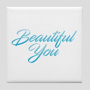 Beautiful You - Blue Tile Coaster