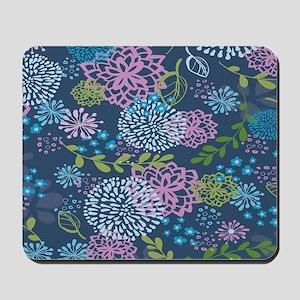 Blue Floral Burst Pattern Mousepad