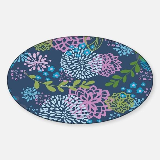 Blue Floral Burst Pattern Sticker (Oval)
