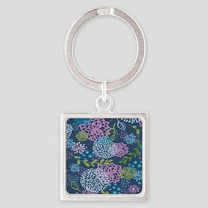 Blue Floral Burst Pattern Square Keychain